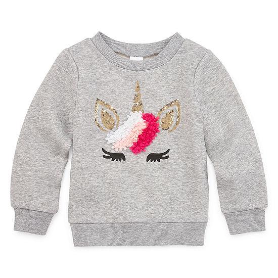 Okie Dokie Girls Round Neck Long Sleeve Sweatshirt - Toddler