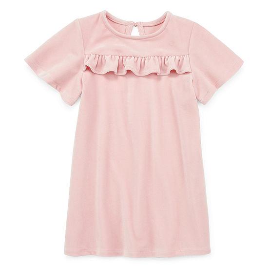 Okie Dokie Girls Short Sleeve Flutter Sleeve A-Line Dress - Toddler