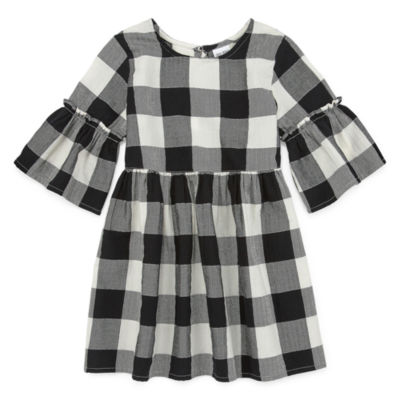 Okie Dokie Toddler Girls 3/4 Sleeve Bell Sleeve Plaid A-Line Dress