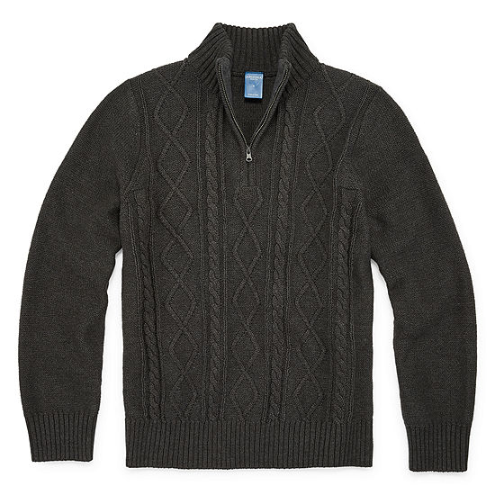 Arizona Little & Big Boys Mock Neck Long Sleeve Pullover Sweater