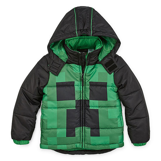 Mojang Boys Outerwear Little Boys Minecraft Hooded Heavyweight Puffer Jacket