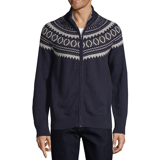 St. John's Bay Outdoor Mens Mock Neck Long Sleeve Sweater