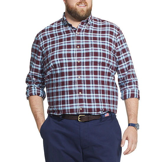 IZOD Big and Tall Plaid Button-Down Shirt