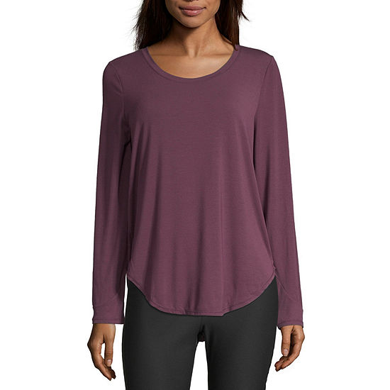 Xersion-Womens Crew Neck Long Sleeve T-Shirt