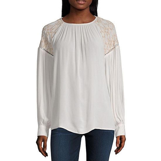 a.n.a Womens Round Neck Long Sleeve Peasant Top