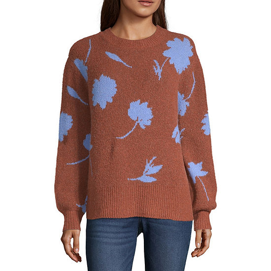 a.n.a Womens Mock Neck Long Sleeve Floral Pullover Sweater