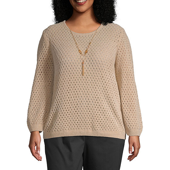 Alfred Dunner-Plus Walnut Grove Womens Crew Neck Long Sleeve Pullover Sweater