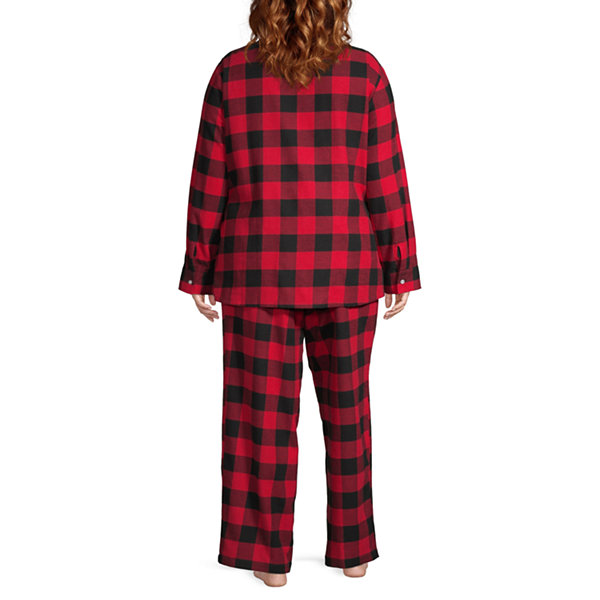North Pole Trading Co. Buffalo Plaid Family Womens-Plus Pant Pajama Set 2-pc. Long Sleeve