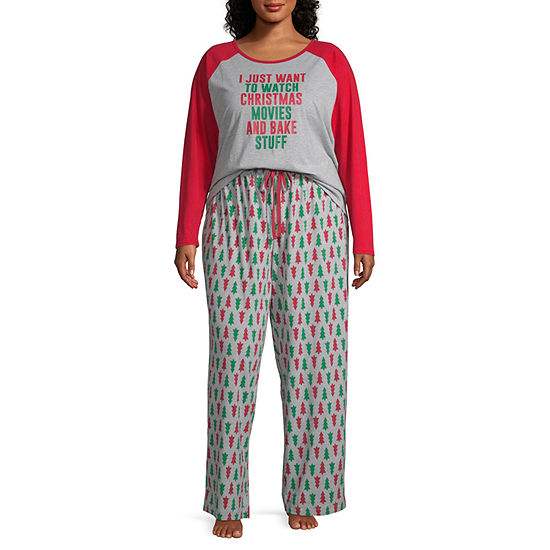 North Pole Trading Co. Christmas Wish Family 2-pc. Long Sleeve Pant Pajama Set Womens-Plus