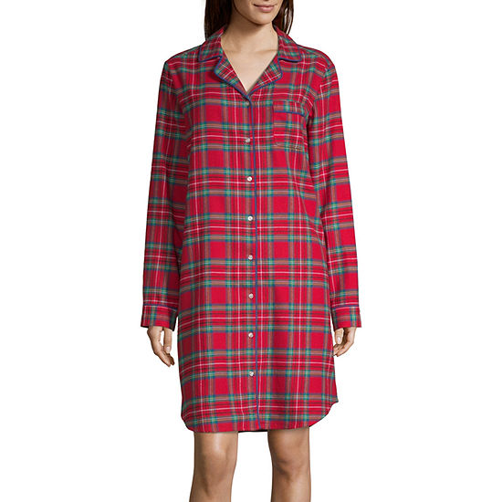 North Pole Trading Co. Womens-Average Figure Flannel Nightshirt Long Sleeve