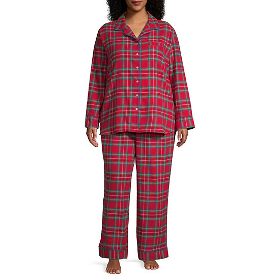 North Pole Trading Co. Womens Long Sleeve Pant Pajama Set 2-pc.-Plus