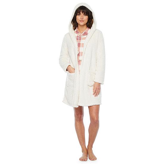 Ambrielle Womens Plush Robe Long Sleeve Mid Length