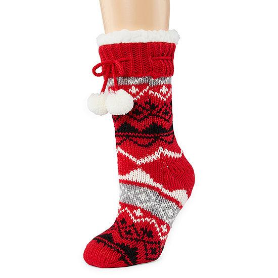 Mixit Sherpa Lined Slipper Socks 1 Pair Slipper Socks Womens