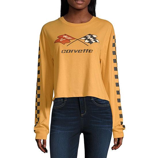 Juniors Womens Crew Neck Long Sleeve Graphic T-Shirt