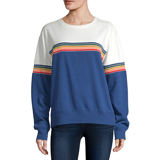 Cut And Paste Juniors-Womens Crew Neck Long Sleeve T-Shirt