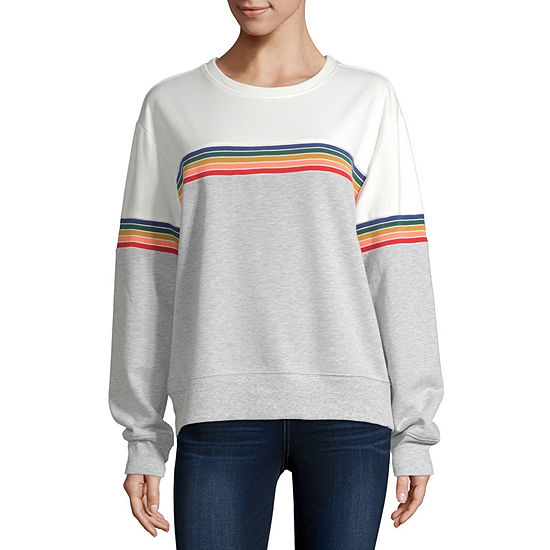 Cut And Paste-Womens Crew Neck Long Sleeve T-Shirt Juniors