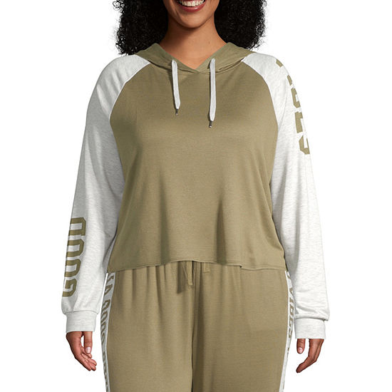 Inspired Hearts Womens Hooded Neck Long Sleeve Pullover Juniors Plus