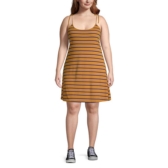 Arizona-Juniors Plus Sleeveless Striped Fit & Flare Dress