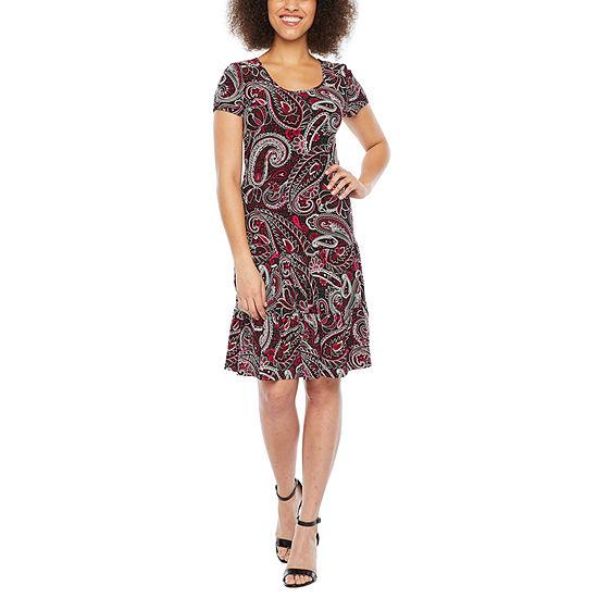 MSK Short Sleeve Paisley Fit & Flare Dress-Petite