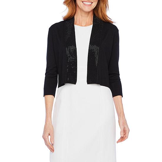 Ronni Nicole Womens 3/4 Sleeve Embellished Shrug