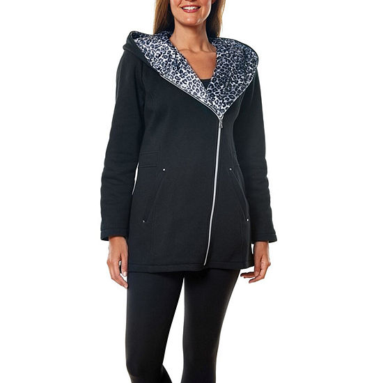 Liz Claiborne Fleece Hooded Lightweight Jacket