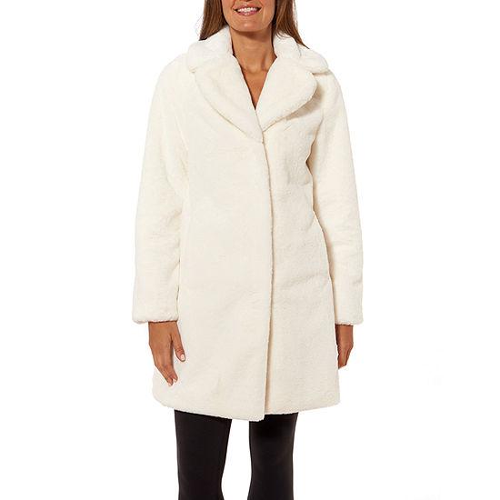Liz Claiborne Notch Collar Faux Fur Coat