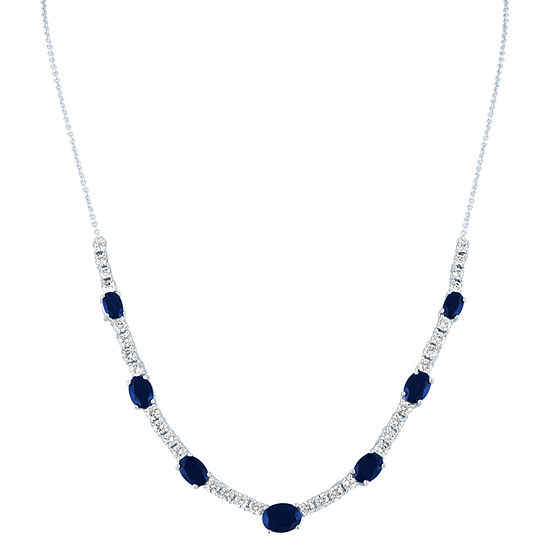 Womens Lab Created Blue Sapphire Pure Silver Over Brass Tennis Necklaces