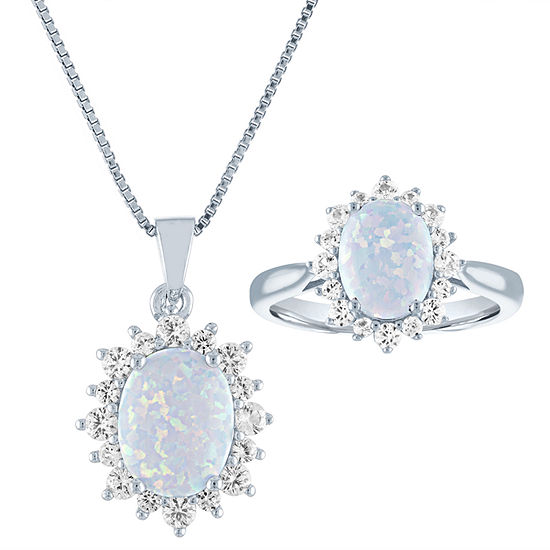 Lab Created Multi Color Opal Sterling Silver 2-pc. Jewelry Set