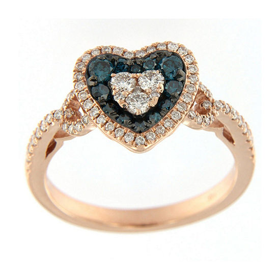Womens Diamond Accent Genuine Blue Diamond 10K Rose Gold Heart Cocktail Ring