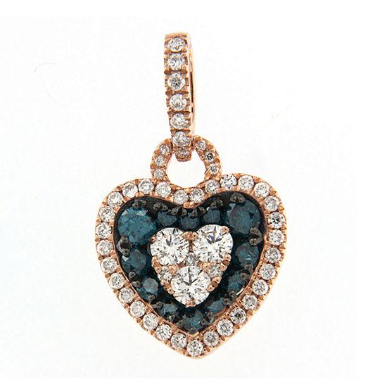 Womens Diamond Accent Genuine Blue Diamond 10K Rose Gold Heart Pendant Necklace