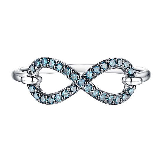 Womens 1/5 CT. T.W. Genuine Blue Diamond 10K White Gold Infinity Cocktail Ring