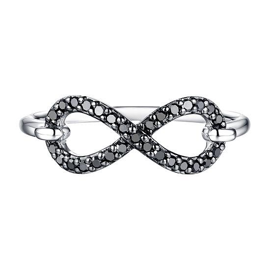 Womens 1/5 CT. T.W. Genuine Black Diamond 10K White Gold Infinity Cocktail Ring