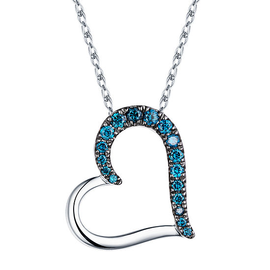 Womens 1/4 CT. T.W. Genuine Blue Diamond 10K White Gold Heart Pendant Necklace