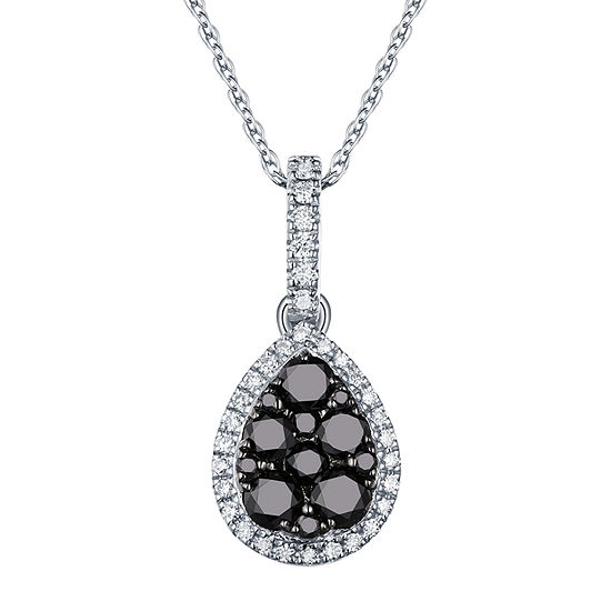 Womens 1/2 CT. T.W. Genuine Black Diamond 14K White Gold Pear Pendant Necklace