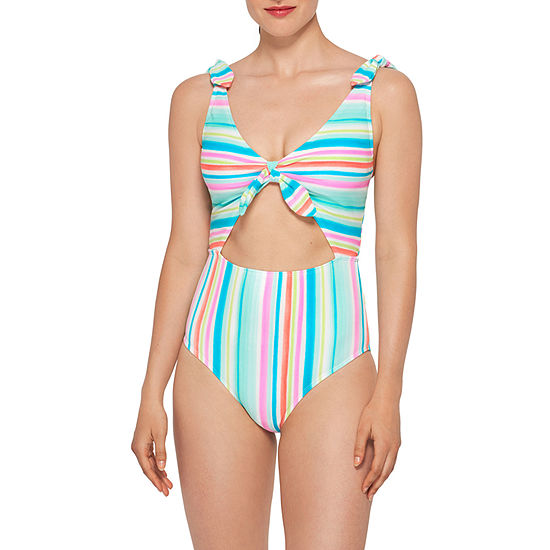 Arizona Striped One Piece Swimsuit Juniors