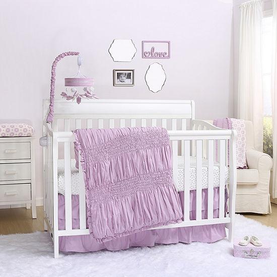 The Peanut Shell Lilac Kisses 3-pc. Crib Bedding Set