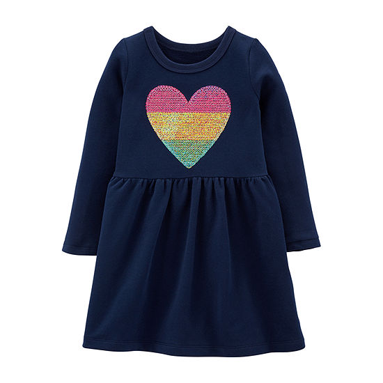 Carter's Girls Long Sleeve A-Line Dress - Toddler