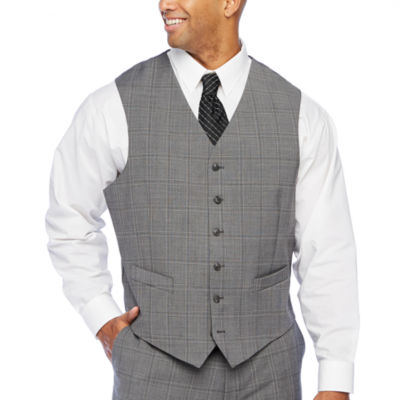 Stafford Super Suit Gray Plaid Stretch Suit Vest - Big & Tall