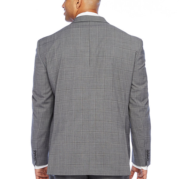 Stafford Super Suit Plaid Stretch Suit Jacket-Big and Tall