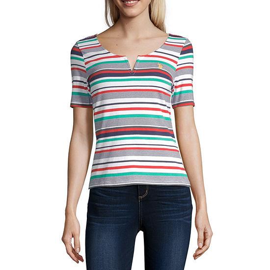 Us Polo Assn.-Womens Split Crew Neck Short Sleeve T-Shirt Juniors