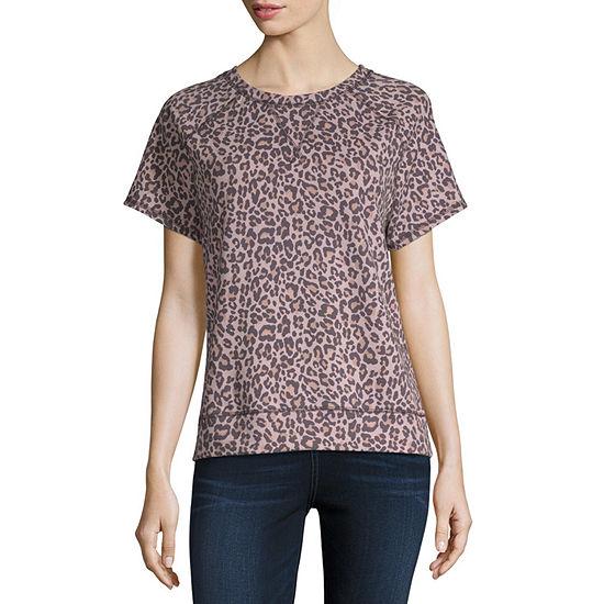 Rewind-Womens Crew Neck Short Sleeve T-Shirt Juniors