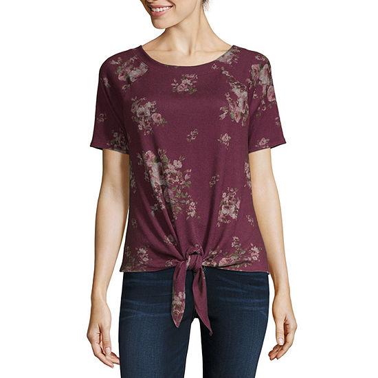 Rewind-Womens Round Neck Short Sleeve T-Shirt Juniors
