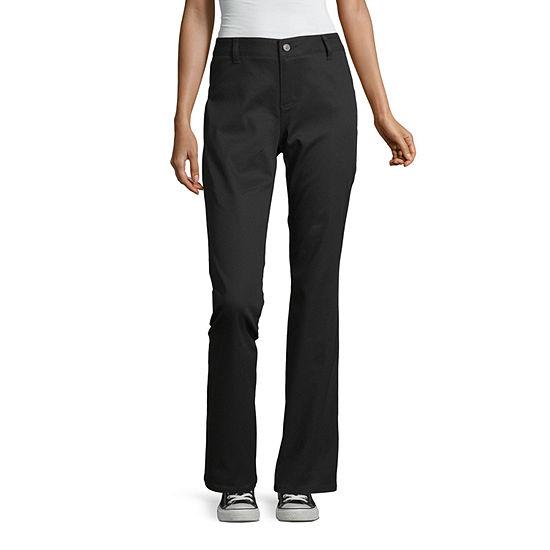 Dickies-Juniors Womens Mid Rise Bootcut Flat Front Pant