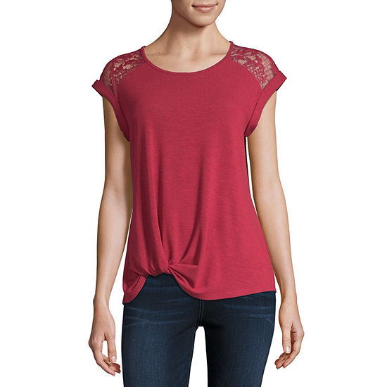 by&by-Juniors Womens Scoop Neck Short Sleeve Knit Blouse