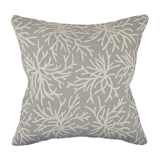 Gray Coral Reef Woven Throw Pillow