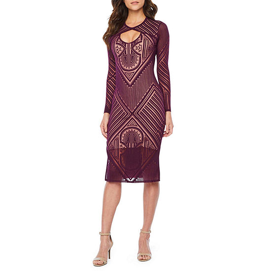 Bold Elements Long Sleeve Cut Outs Geometric Bodycon Dress