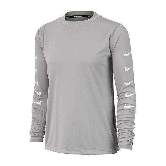 Nike Womens Crew Neck Long Sleeve Graphic T-Shirt