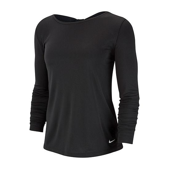 Nike-Womens Boat Neck Long Sleeve T-Shirt