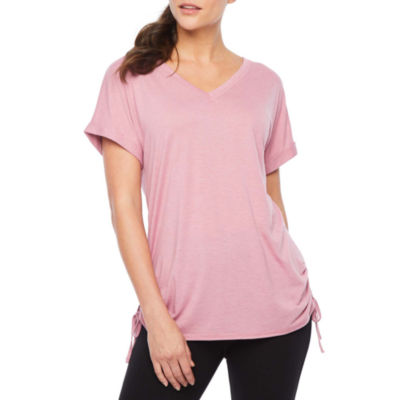 Xersion-Womens V Neck Short Sleeve Side Ruched Tee