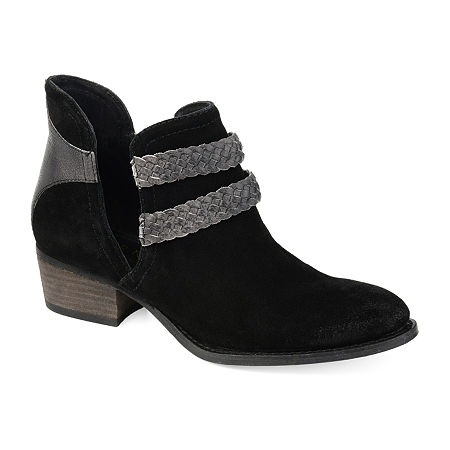 Journee Signature Womens Bernice Booties Stacked Heel, 7 Medium, Black